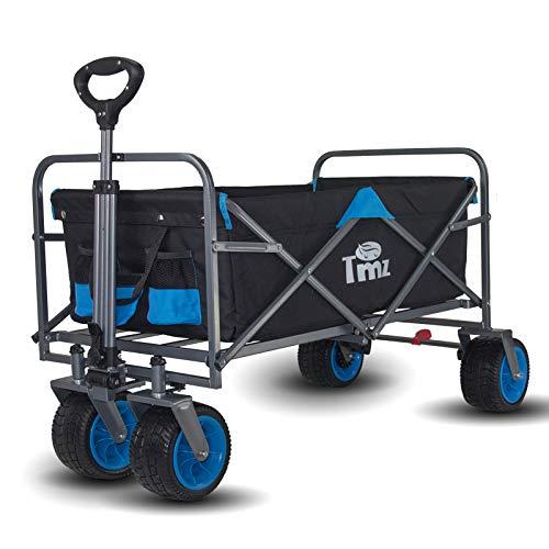 TMZ Patentierter All-Terrain Breiter Räder Handwagen, Faltbarer Bollerwagen mit Fuß-Bremse, Integrierte Vorderradlenkung Transportwagen, Klappbar Gardenwagen, 90 L Lagerung, bis 120kg
