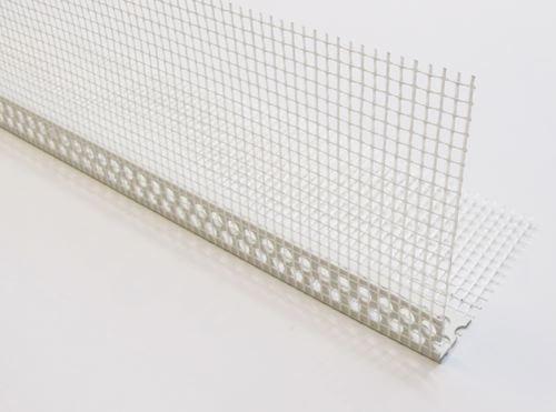 Paraspigolo in PVC con rete 8x12 cm. in fibra di vetro pre incollata per i sistemi di isolamento termico per esterni a cappotto - lung. 2,5 mt. maglia 5x5 mm. cf. 50 pz.