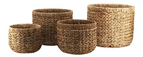 Decorasian Korb Aufbewahrung rund geflochten nachhaltig aus Seegras - 4er Set groß bis klein