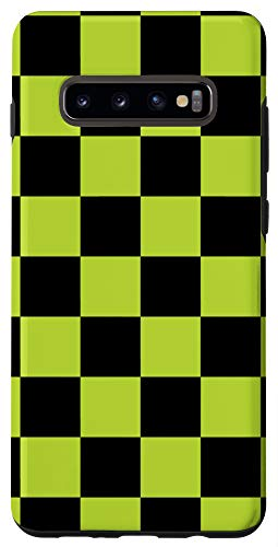 Galaxy S10+ Checkered Black And Green Checkerboard Phone Case