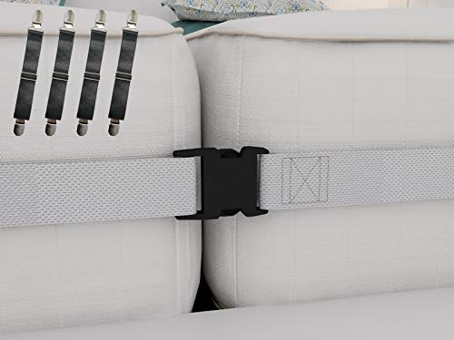 Twin to King Bed Strap Connector Kit – 2 Inch Wide Mattress Joiner Strap & 4 Adjustable Bed Sheet Fasteners -Perfect Solution to Hold in Place Twins Mattresses & Bed Sheets