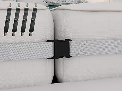 Verbindungs-Set für Doppelbett bis King-Size-Betten, 5 cm breiter Matratzen-Gurt und 4 verstellbare Bettlaken-Befestigungen – perfekte Lösung für Zwillinge Matratzen und Bettlaken
