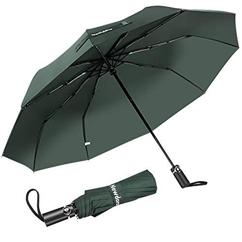 Newdora Regenschirm Taschenschirm Windproof sturmfest Auf-Zu Automatik 210T Nylon Umbrella wasserabweisend klein leicht kompakt 10 Ribs Reise Golfschirm mit Trockenbeutel(Bohnengrün)