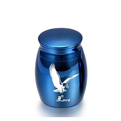 YJZZ Las urnas Mascota Masculino águila despliega Sus alas Pequeño Recuerdo urnas for Cenizas humanas Memorial héroe Mini cremación urnas de Metal Cenizas Mascota Holder