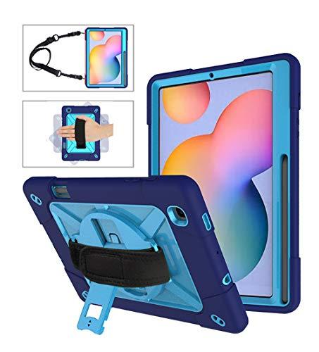 Neecio Custodia Samsung Galaxy Tab S6 Lite 10.4 (P610 / P615) Cover, Custodia Ibrida Antiurto con Hand Shoulder Strap, Kickstand Rotante, Matita Cavalletto (Blue)