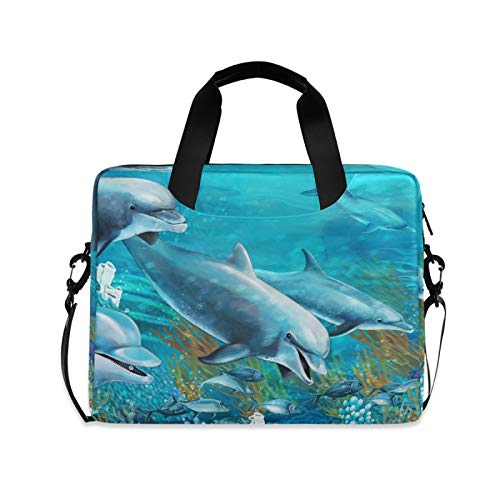 ALAZA Dolphin Sea Animal Blue Laptop Case Bag Sleeve Portable Crossbody Messenger Briefcase w/Strap Handle, 13 14 15.6 inch