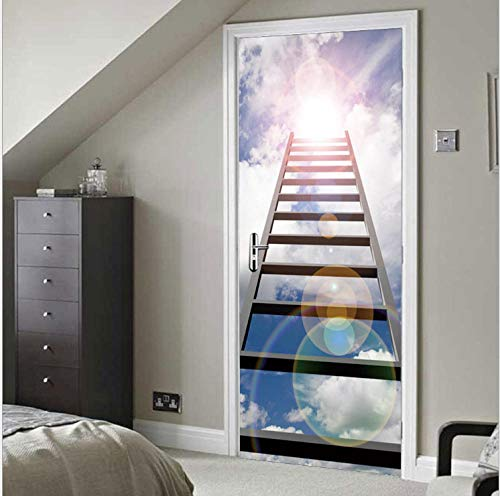 Mural de puerta 3D, arte de puerta 3D, adhesivos de puerta 3D, mural de puerta autoadhesivo, adhesivos de pared para decoración del hogar con escalera, 77x200 cm