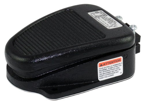 Linemaster 636-S Clipper Foot Switch, Electrical, Single Pedal, Momentary, 2- Stage, No Guard, Black