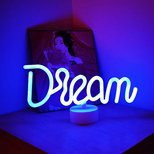 Luz LED de neón en forma de sueño, luz de neón con luz LED de neón para mesa, lámpara decorativa de neón con base para habitación de bebé, para decoración de bodas, fiestas