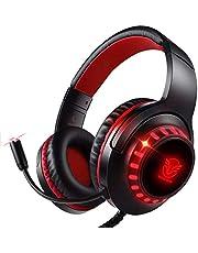 Pacrate PS5 PS4 PC Xbox One用ゲーミングヘッドセット、マイク、LEDライト、ソフトメモリイヤーマフを備えた3.5mmノイズキャンセリングゲーミングヘッドホン 赤