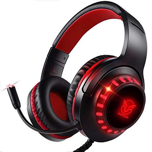 Pacrate PC Gaming Headset für PS4, Xbox One, PC, Rauschunterdrückung Over-Ear mit LED, PS4 Headset mit Kristall Stereo Klang, PS4 Gamer Kopfhörer mit Sensiblen Mikrofon für Laptop, Mac