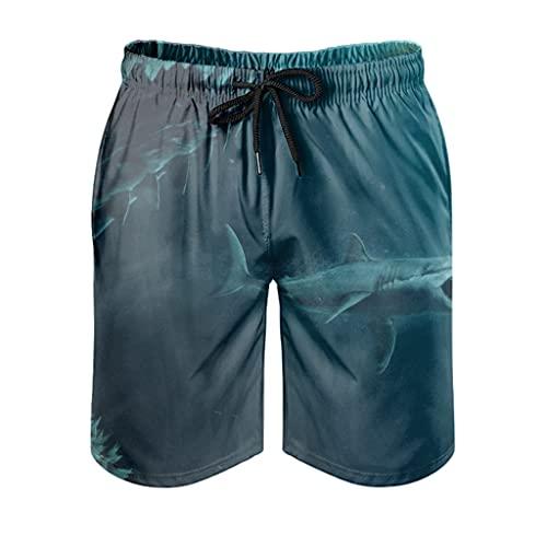 kikomia Pantalones cortos de playa para hombre, diseño de tiburón, corte ajustado, con bolsillos, color blanco, talla S