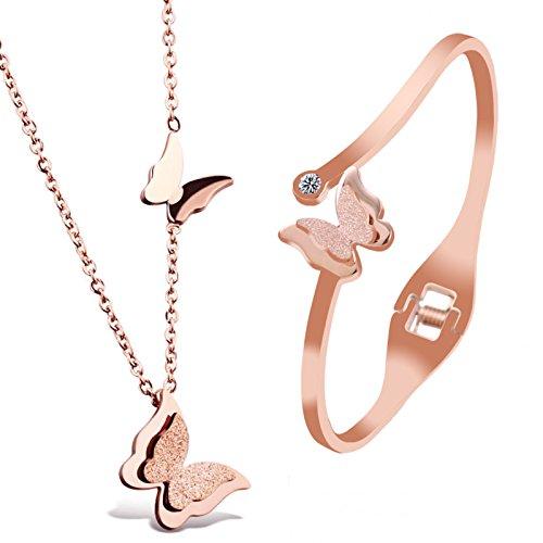 Kim Johanson Edelstahl Mädchen Schmuckset *Butterfly* Halskette mit Anhänger & Armreif in Roségold inkl. Schmuckbeutel