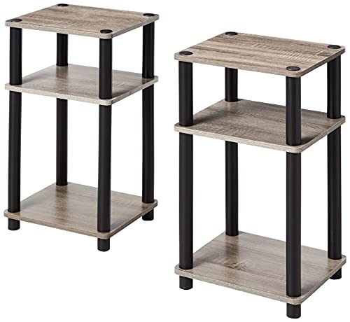 FURINNO Just 3-Tier Turn-N-Tube 2-Pack End Table, French Oak Grey/Black