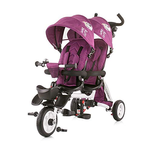 Chipolino Tricycle Dreirad 2Fun für Zwillinge, klappbar, Lenkstange, Gummiräder, Farbe:lila