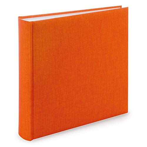 goldbuch 31706 Fotoalbum, Summertime, 30 x 31 cm, Fotobuch mit 100 weiße Seiten & Pergamin Trennblättern, Foto Album aus Leinen, Erinnerungsalbum, Orange