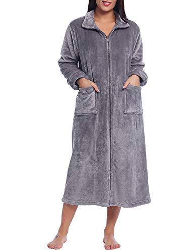 Amorbella Albornoz de forro polar con cremallera para mujer (gris, pequeño)