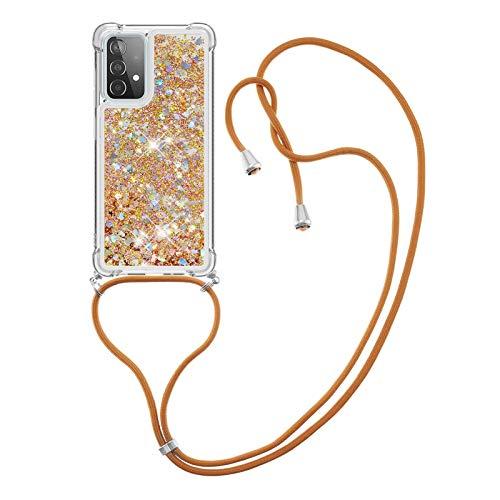 HülleLover Handykette Handyhülle für Samsung A52 5G, Glitzer Flüssig Bewegende Treibsand Transparent Silikon Hülle mit Kordel zum Umhängen Necklace Hülle Band für Samsung Galaxy A52 5G, Golden