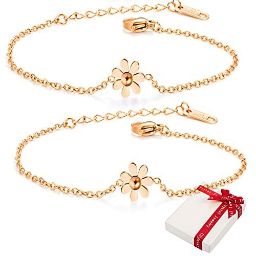 2 pulseras de oro rosa para mujer con caja de regalo, pulsera para mujer, pulsera de oro rosa de acero inoxidable 316, regalos para niñas y mujeres, pulsera sencilla regalo para novia