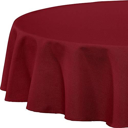 Erwin Müller Tischwäsche, Tischdecke Uni, Madrid weinrot Größe rund 160 cm Ø - angenehme, weich fließende Qualität, mit hochwirksamer Fleckschutzausrüstung, bügelleicht (weitere Farben, Größen)