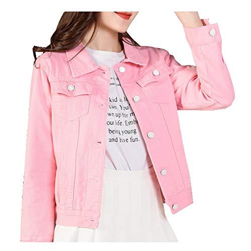 CYSTYLE 2020 Damen Jeansjacke Übergangsjacke Kurz Jacke Denim Casual in klassischer Form (Rosa, S)