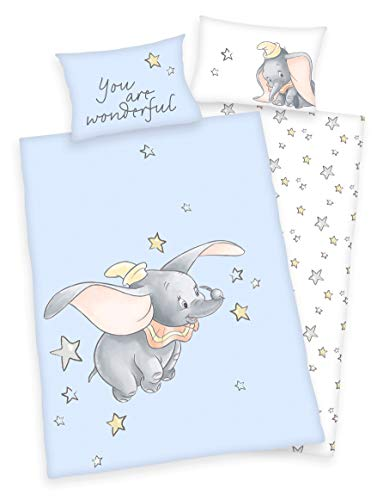Disney Dumbo Parure de lit pour bébé 40 x 60 cm + 100 x 135 cm (Parure de lit)