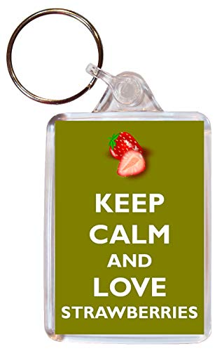 Keep Calm and Love Strawberries - Double Sided Large Keyring Key Ring Fob Chain Name Tag Souvenir/Gift/Present