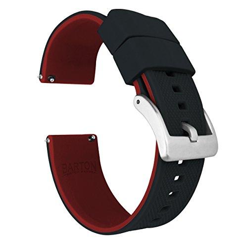 20mm Black / Crimson Red -BARTON Elite Silicone Watch Bands - Quick Release - Choose Strap Color & Width