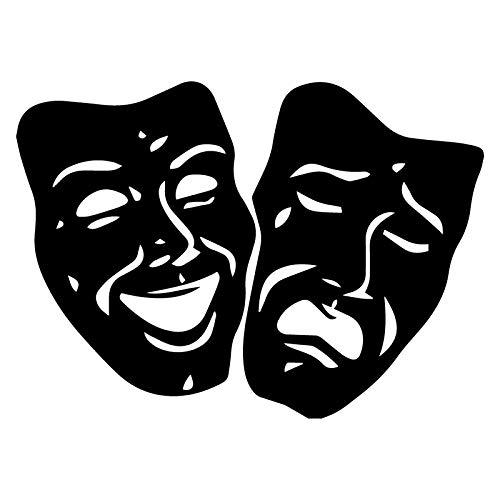 XLYDF Máscara de Teatro Etiqueta engomada Creativa Decoración de Autos Personalidad PVC PVC A Prueba de Agua Calcomanía en Blanco y Negro, 18 cm * 13cm