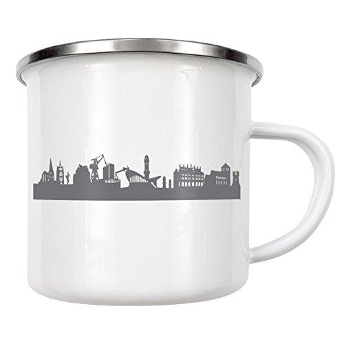 artboxONE Emaille Tasse Rostock 02 Dunkelgraue Skyline von 44spaces - Emaille Becher Städte