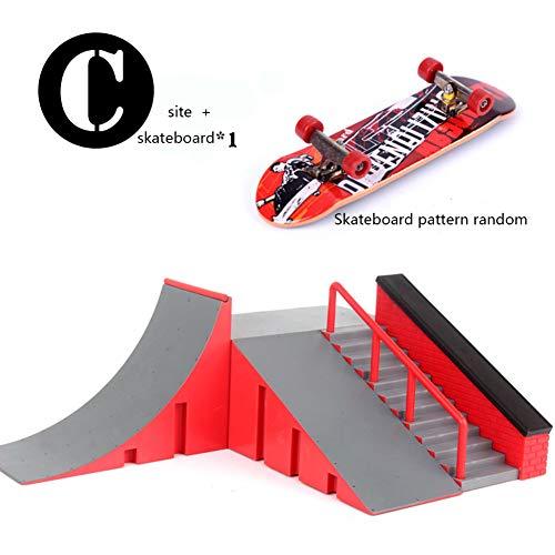 1 Juego De Monopatín Dedo Mini Kit Finger Skate Park Kit De Rampa De Piezas con Las Juntas De Dedo para Finger Monopatín Último Formación Parques Atrezzo Estilo,C