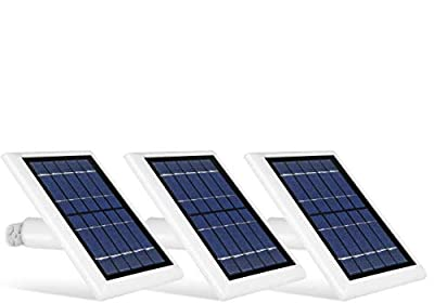 Wasserstein Solar Panel Compatible with Ring Spotlight Cam Battery - Power Your Ring Surveillance Camera continuously (3 Pack, White)
