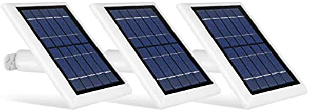 Wasserstein Solar Panel Compatible with Ring Spotlight Cam Battery, Ring Stick Up Cam Battery & Reolink Argus Pro - Power Your Ring Surveillance Camera continuously with 2W 5V Charging (3-Pack, White)
