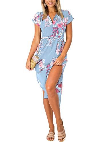YOINS Sommerkleid Damen Lang V-Ausschnitt Maxikleider für Damen Kleider Strandkleid Strandmode Blumen-hellblau S