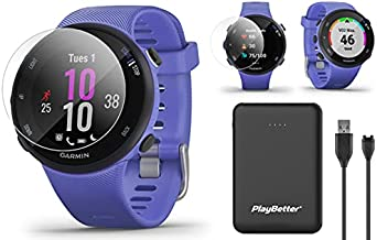 Garmin Forerunner 45S GPS Running Watch Power Bundle | Includes PlayBetter Portable Charger & HD Screen Protectors | Running Heart Rate Watch | Pace, Distance, Stress Tracking | Iris, 010-02156-01