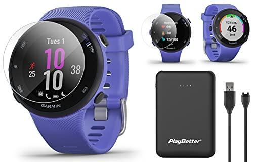 Garmin Forerunner 45S (Iris, Small) Running GPS Watch Power Bundle | +HD Screen Protectors & PlayBetter Portable Charger | Garmin Coach, Lightweight, Heart Rate, Body Battery, Smart Notifications