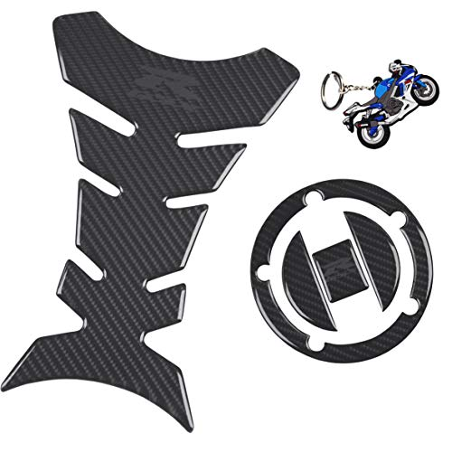 REVSOSTAR Real Carbon Look Gas Cap, Fuel Cap Decal, Tank Pad Decal Stickers,Tank Pad Protector, Grey Logo for GSXR 600 GSXR 750 GSXR 1000 K6 K7 K8 K9 L1 2006-2017, 3Pcs Per Set
