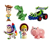 Disney and Pixar Toy Story Mini Andy's Toy Chest 6-Pack Classic Movie Characters Figures Collection, Woody, Buzz Lightyear, Rex, Bo Peep, Hamm and RC, Compact Size for Story Play at Home and On the Go