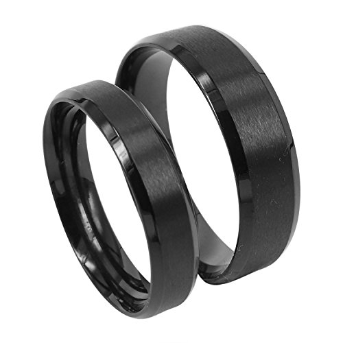 Everstone Paar Ringe Eheringe Verlobungsringe Titan Schwarz Ringe Größe: 47-76