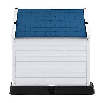 GOPLUS Niche pour Chien en Plastique avec Trous de Ventilation et Plancher Surélevé, Maison pour Chien avec Toit Étanche, pour Utilisation Intérieure et Extérieure, Bleu et Blanc (M)