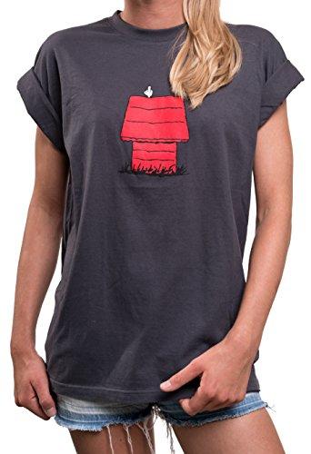 Lustige Damenshirts mit Aufdruck - Snoop Dog T-Shirt Rundhals Top Kurzarm locker lässig geschnitten große Größen L