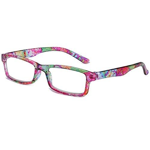 VEVESMUNDO Lesebrillen Damen Frauen Herren Schmal Blume Lesehilfe Sehhilfe Vollrandbrille Retro Lange Bügel Rechteckig Klar Brillen Mit Stärke 1.0 1.5 2.0 2.5 3.0 3.5 4.0 (Lila, 2.0)