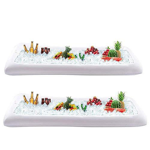 LONGBLE 2 stuks opblaasbare saladebar buffet ijs koeler drankjes desserts draagbaar serveren bier drinken dienblad food drankhouder met afvoerstop voor outdoor- en indoorfeesten