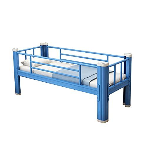 Somier Marco de Cama de Metal, Fácil de Desmontar Montar el Marco de la Cama Individual, para la Escuela/hogar/jardín de Infantes Armazón de Seguridad Antideslizante(Color:Azul)