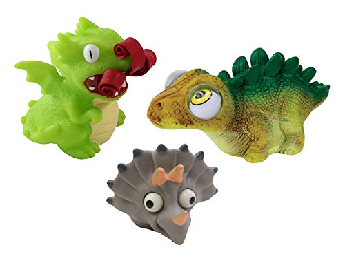 Set of 3 - Dragon Fire and Eye Popping Dinosaurs - Cute Squeeze Toy - Fun Fidget - Unique OT Hand Strength, Fine Motor Dino