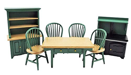 Melody Jane Dollhouse Hunter Green Kitchen Dining Furniture Set Wooden 1:12 Scale