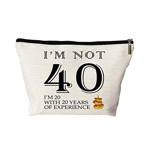 I AM NOT 40 Makeup Bag - Funny 40th Birthday Gifts for Women Cosmetic Bags - Retirement/Commemorative/Christmas Gifts Makeup Travel Case for Her, Friend, Mom, Sister, Wife, Coworker
