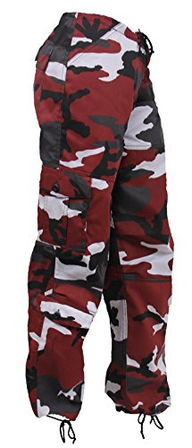 Rothco Womens Paratrooper Colored Camo Fatigues, Red Camo, S