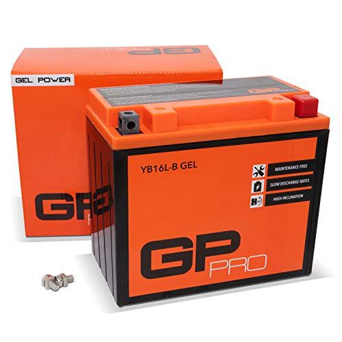 GP-PRO GB16L-B 12V 17Ah GEL Batería de arranque (compatible con YB16L-B / 51911) (Sin necesidad de mantenimiento/Sellado) Moto Acumulador para p. ej. Kawasaki GPZ 1100
