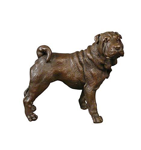 HTdeco - Statuette - Sculpture 100 % bronze - Statue Bronze Chien